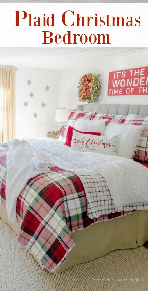 Plaid Christmas Bedroom / Featuring white walls, Red Plaid Bedding from HomeGoods (sponsored) and a full spruce Christmas tree. How to get the look on a budget.