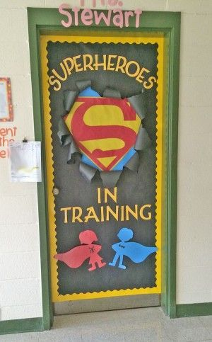 Check out this fun Superhero Door Idea featured in the Back to School Bulletin Board Ideas Roundup on http://OneCreativeMommy.com!