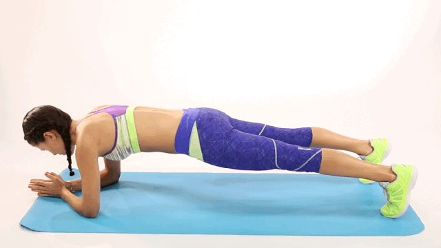 Dolphin Push-Ups. Begin in a forearm plank. Keeping your spine long and your neck neutral, inhale as you draw your abs in toward your spine, and push your hips up toward the ceiling. On the exhale, bring your hips back to starting position. Repeat.