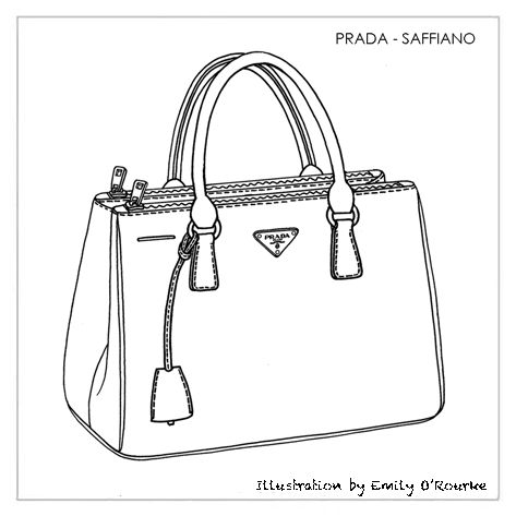 PRADA - SAFFIANO BAG- Designer Handbag Illustration / Sketch / Drawing / CAD / Borsa Disegno
