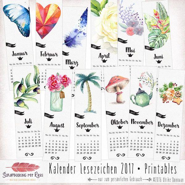 Weiteres - Zwölf Kalender 2017 - Lesezeichen (Download) - ein Designerstück von Rikki_Donovan bei DaWanda