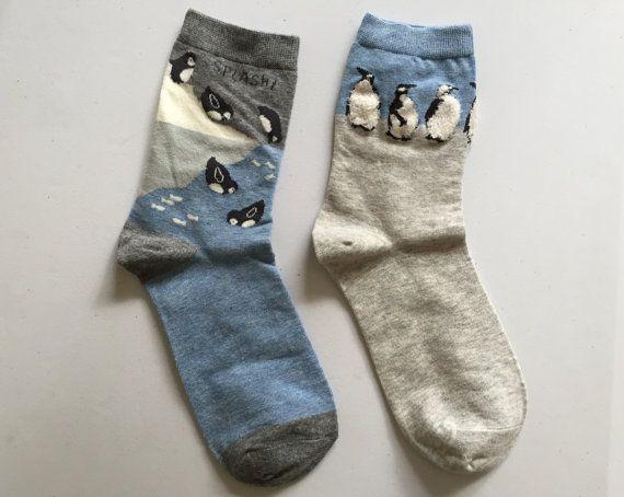 Swimming Penguins Socks Penguin Print Socks by kindersticker