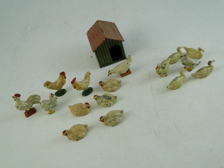 Antique Britains Hill & Co Lead Figurine Statue Toy Chicken Coup Duck Set Vtg
