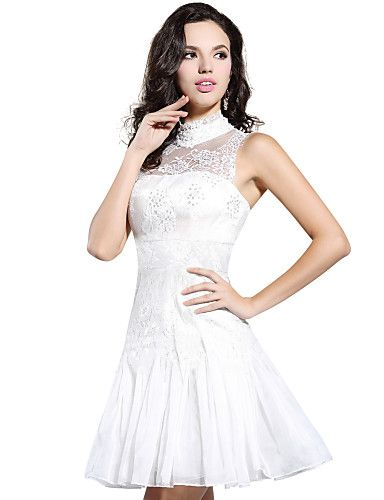 Cocktail Party Dress A-line High Neck Knee-length Lace/Satin Dress – CAD $ 179.30
