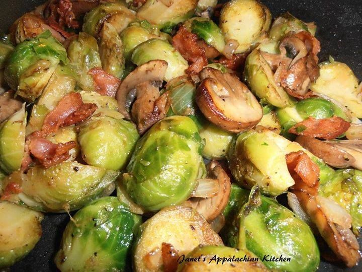 Brussel Sprouts with Bacon and Mushrooms So good, you'll want to Slap your Mama! 12 oz. frozen brussel sprouts, thawed and sliced in half 3 strips bacon, chopped 1/3 C. chopped onion 1 C. sliced mushrooms 1 T. butter 1/2 tsp. my house seasoning (equal parts garlic powder, onion powder and pepper...combine and store in an airtight container) salt to taste In a skillet, fry up the chopped bacon until crispy and remove the bacon to a paper towel lined plate, retaining the bacon grease in the...