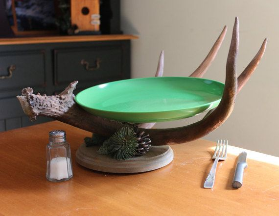 Rustic Antler Dish Display by WildernessDecor on Etsy
