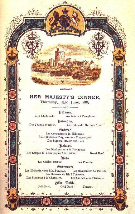 Golden Jubilee menu