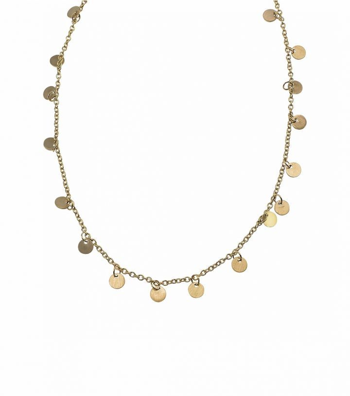 Diameter 4 mm, adjustable length of necklace 84,5-87 cm.   Matt gold plated stainless steel. Nickel safe.