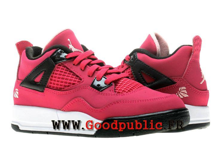 Air Jordan 4 Chaussures de basket officiel moins cher Femme Rose rouge  487725-601