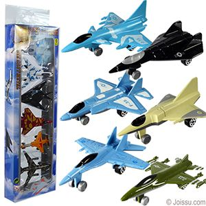 6 PIECE DIE CAST FIGHTER JET SETS. These metal die cast free-wheel fighter jets will delight any junior top gun! Assorted styles. Sorry, no style choice available. Each set in PVC box with hanger. Perfect for Christmas stocking stuffers or party favors.  Size 3 Inches, packaging 14 X 4 X 1.5 Inches