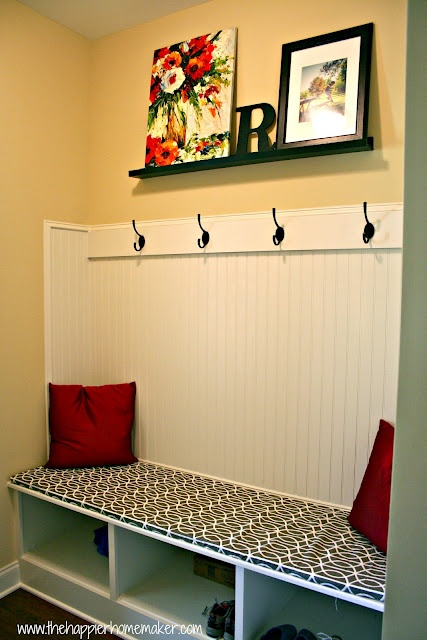Totally trying this for the bench/toy cabinet in our living room. Going to glue velcro on the last edge so the cover is washable: Fast No Sew Bench Cushion  by The Happier Homemaker