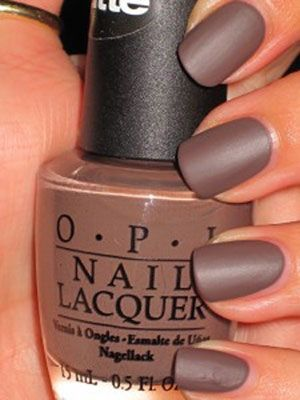 "Matte...  To achieve this look, all you have to do is apply three coats of OPI ""You Don't Know Jacques Matte,"" pictured here, or any other polish from the OPI matte collection. For this manicure, using a top coat would ruin the matte look and make your nails look shiny. You can, however, use a matte top coat, which can also be found at OPI."