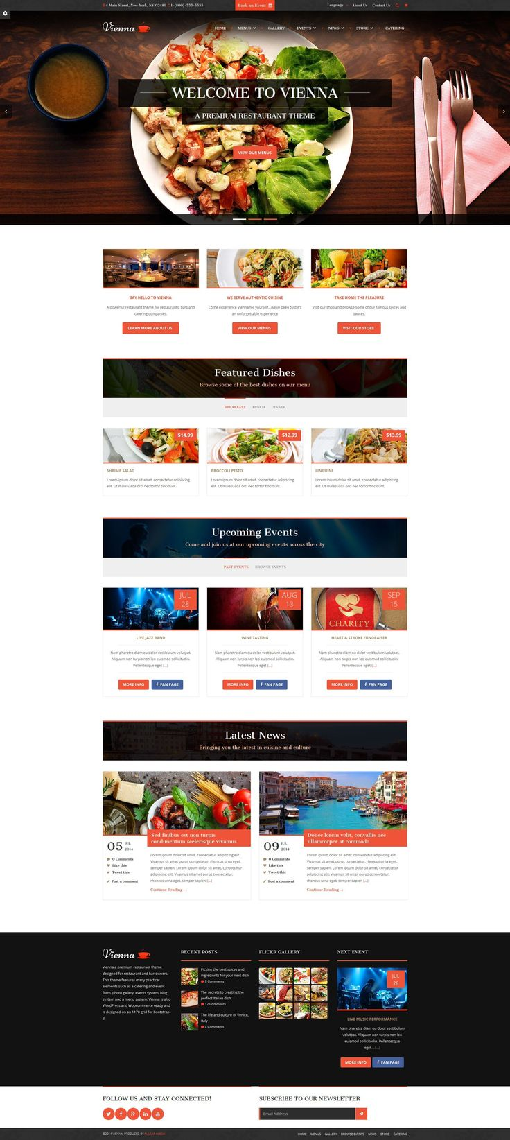 Vienna is a premium restaurant WordPress theme and is designed for anyone in the restaurant and/or hospitality industry. Vienna was designed for restaurant and bar owners, banquet halls, catering companies, hospitality venues and professional bloggers who cater to the food niche.