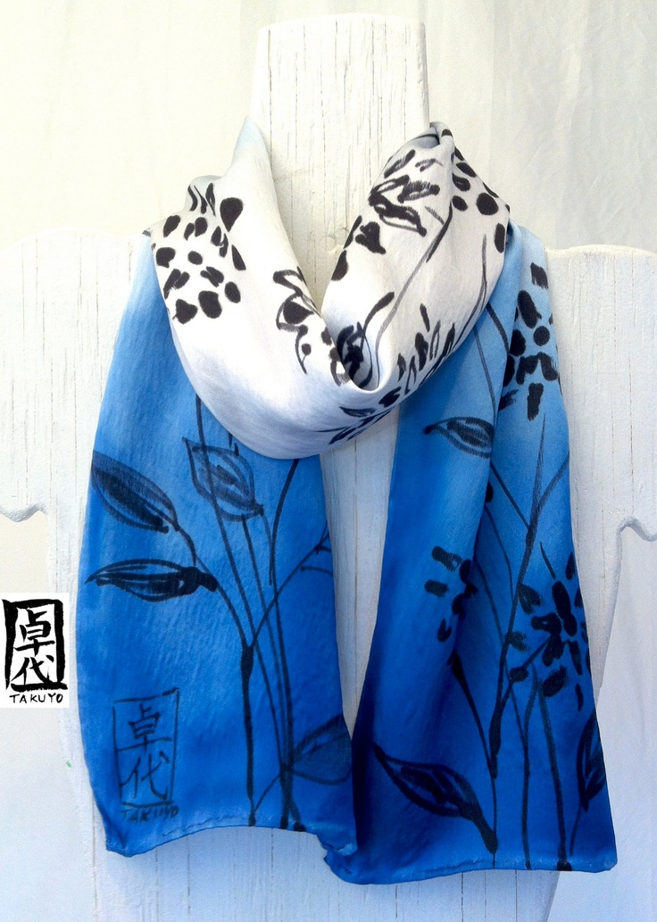 Hand Painted Silk Scarf, Blue Silk Scarf, Ombre Gray Blue Floral Scarf. Silk Charmeuse Scarf. M