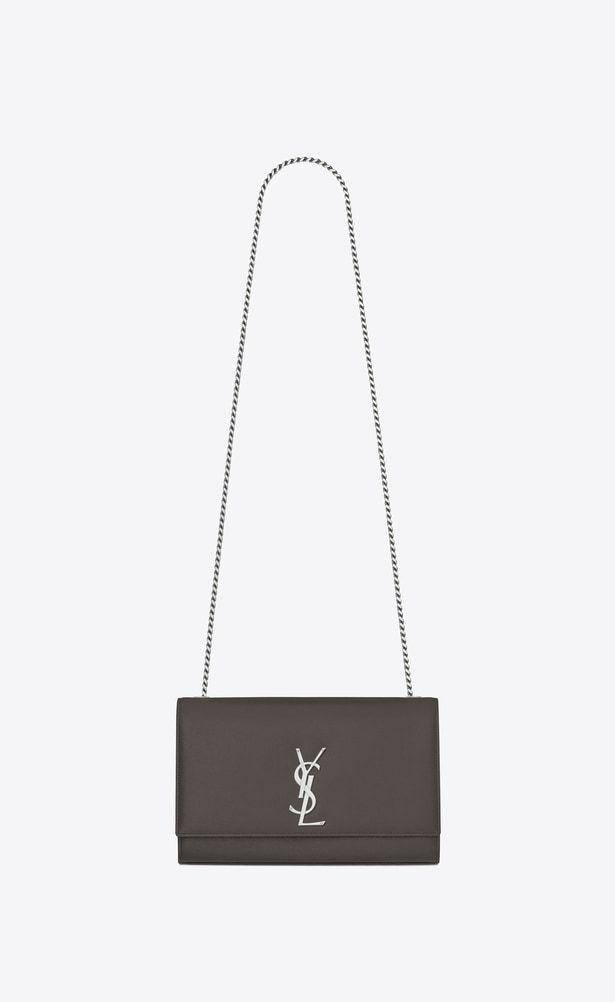SAINT LAURENT MONOGRAM KATE Woman medium kate chain bag in grey textured  leather a V4 9ca24c4a16fa8