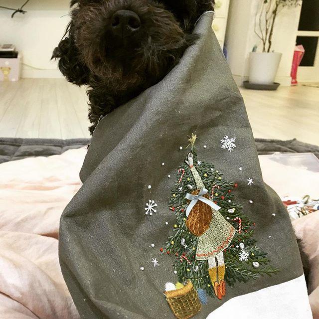완성~~~~~~!!!!!!!!! 아우 배야... 너무 집중하고 앉아있었더니 아랫배 아푸... #크리스마스를기다리며 #케이블루의사계절프랑스자수 #신간 #자수책 #embroidery #케이블루 #케이블루도안 #프랑스자수 #자수타그램 #크리스마스 #소녀