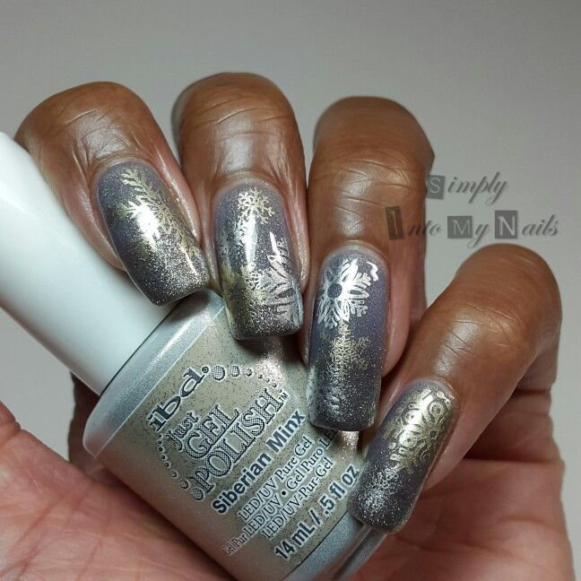 IBD Pretty In Pewter with Siberian Minx frosted tips and MoYou and Born Pretty…