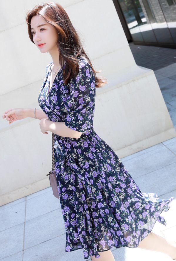 6169216d41c StyleOnme Purple Floral Print V-Neck Flared Dress  purple  floral  elegant   dress  feminine  koreanfashion  kstyle  kfashion  summertrend  datelook