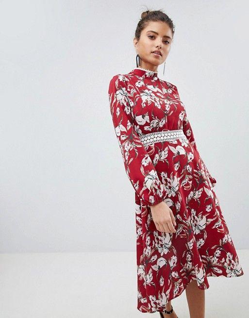 5a9638f47ce0 Boohoo exclusive lace trim open back midi dress | Ava's Met Gala ...