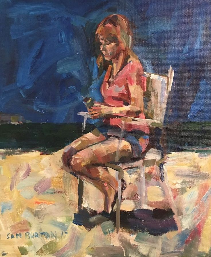 Original Painting collected Artist Samuel Burton woman on Beach Chair Art  | eBay