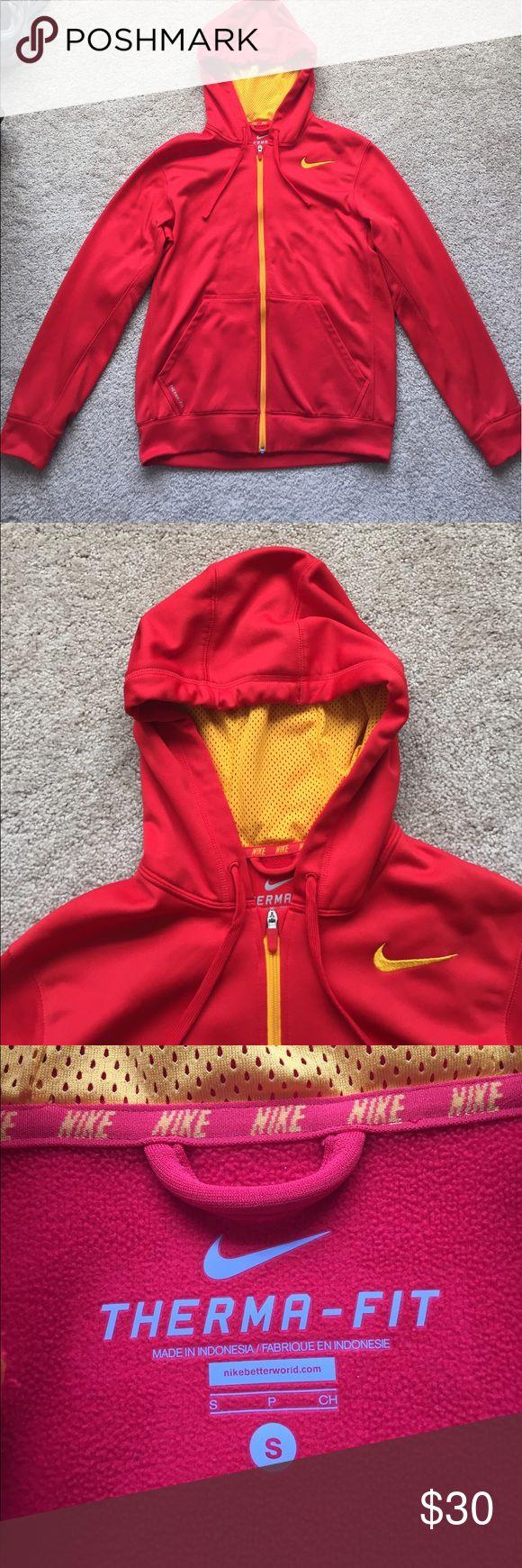 "Nike men's red zip up hoodie sz sm Excellent condition red and golden yellow zip up hoodie ! Length is 26"" Nike Shirts Sweatshirts & Hoodies"