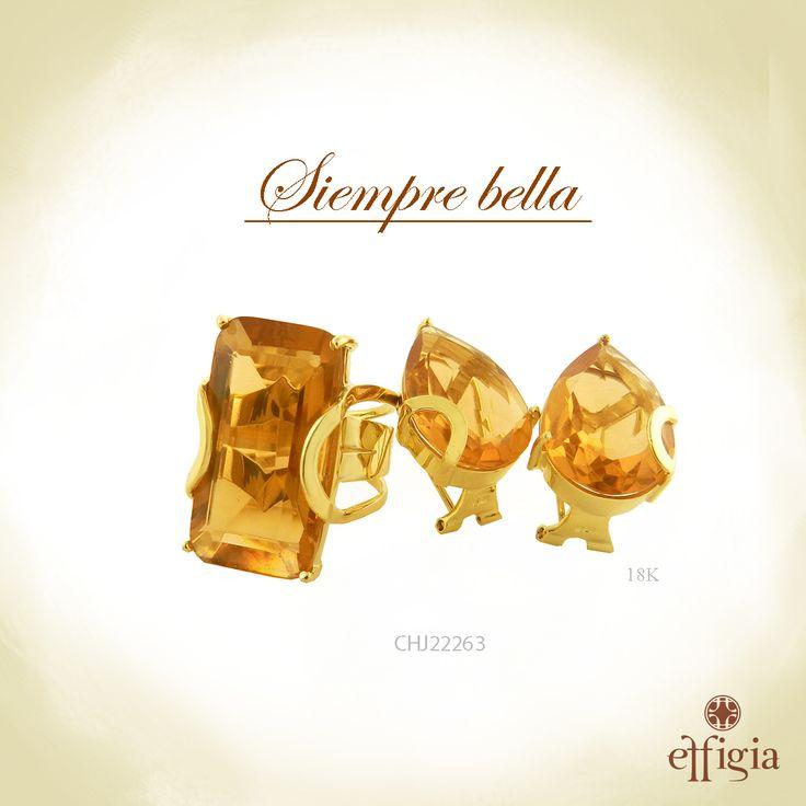 Effigia presenta este precioso juego de oro amarillo de 18 k con topacio miel. ¡Brilla siempre con Effigia! #Oro #JoyasHechasAMano
