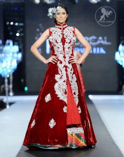 """""""Deep Red Velvet Full Length Front Open Embellished Gown and Skirt"""" (quote)"""