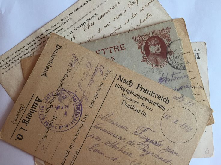 Ephemera war letters and correspondence * WW1 Antique documents from/to French…