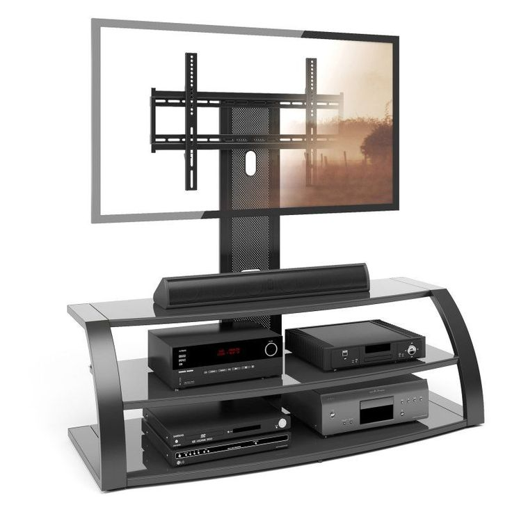 CorLiving TML-5 Malibu TV Stand with Mount and Metal Uprights - TML-506-T