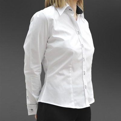 Women's shirt with black double Cuffs. Can be worn for legal and business wear.