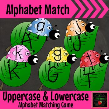 Ladybug Uppercase and Lowercase Alphabet Letter Match Up Cards - Print, cut and laminate these cute ladybug and leaf cards for your PreK, Kindergarten, 1st or 2nd grade students to match the uppercase and lowercase letters.Perfect for a small group phonics activity. {K, first, second graders}