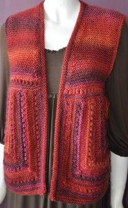 Mochi Plus Mitered Square Vest - Crystal Palace Yarns - free knit vest pattern