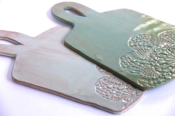 Ceramic Cheese Platter/Cutting Board, handmade pottery, lace imprint, ceramic serveware, wedding gifts, housewarming gifts, entertaining