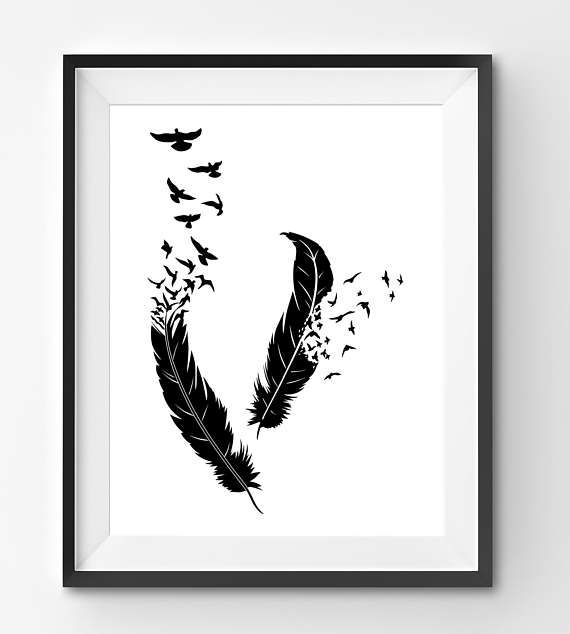 Black Birds flying out of feathers Print Black Feathers