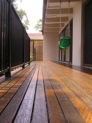 Close up view of decking boards over Boxspan steel framing.