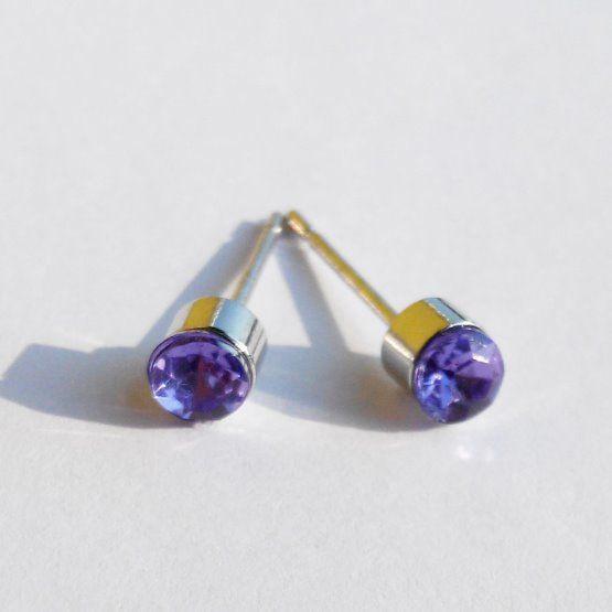 náušnice fialový kamínek