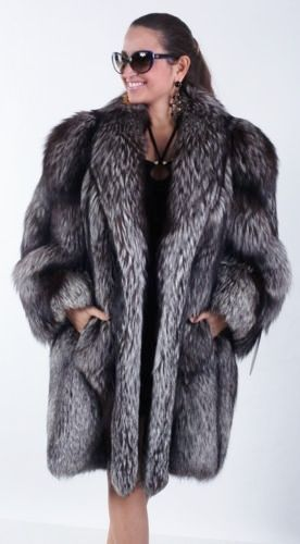 NWT GENUINE SILVER FOX FUR COAT JACKET STROLLER,  MADE IN ITALY,  SIZE:  M - L   #ElsafurSLR #BasicCoat #Any