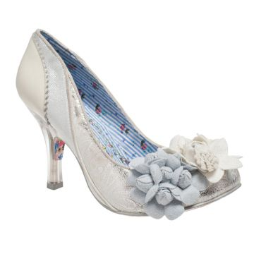 Irregular Choice Mrs Lower. Mrs Lower in a new silver colour way. Paisley printed embossed pu leather with two flowers decorating the front of the shoe and a glass heel.