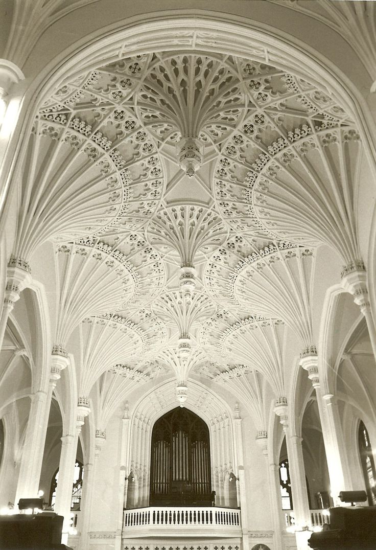 This is a picture of a church in Charleston, South Carolina. I really like the fan vaults on the ceiling because they add visual interest. We mostly keep our ceilings simple now but I think this looks extremely elegant. The white keeps the design simple but interesting with texture.