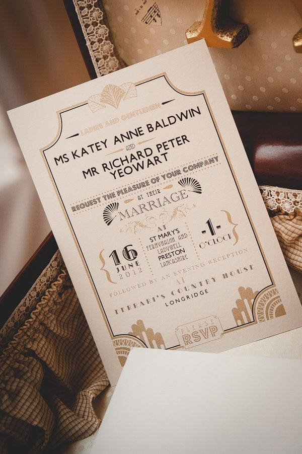 Roaring twenties wedding invitation  Bruid in Stijl: Bruidsmode 2014 trend: ROARING TWENTIES