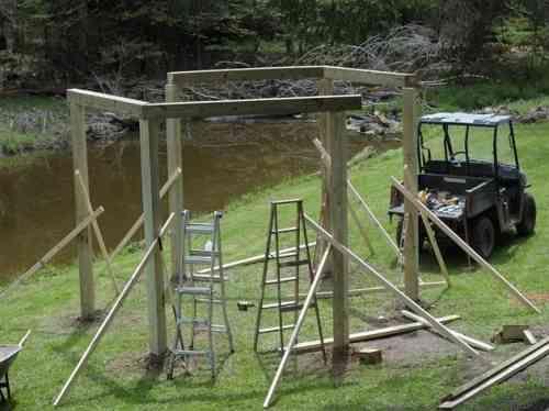 surmontez les poteaux verticaux de poutres horizontales pour créer une structure rigide
