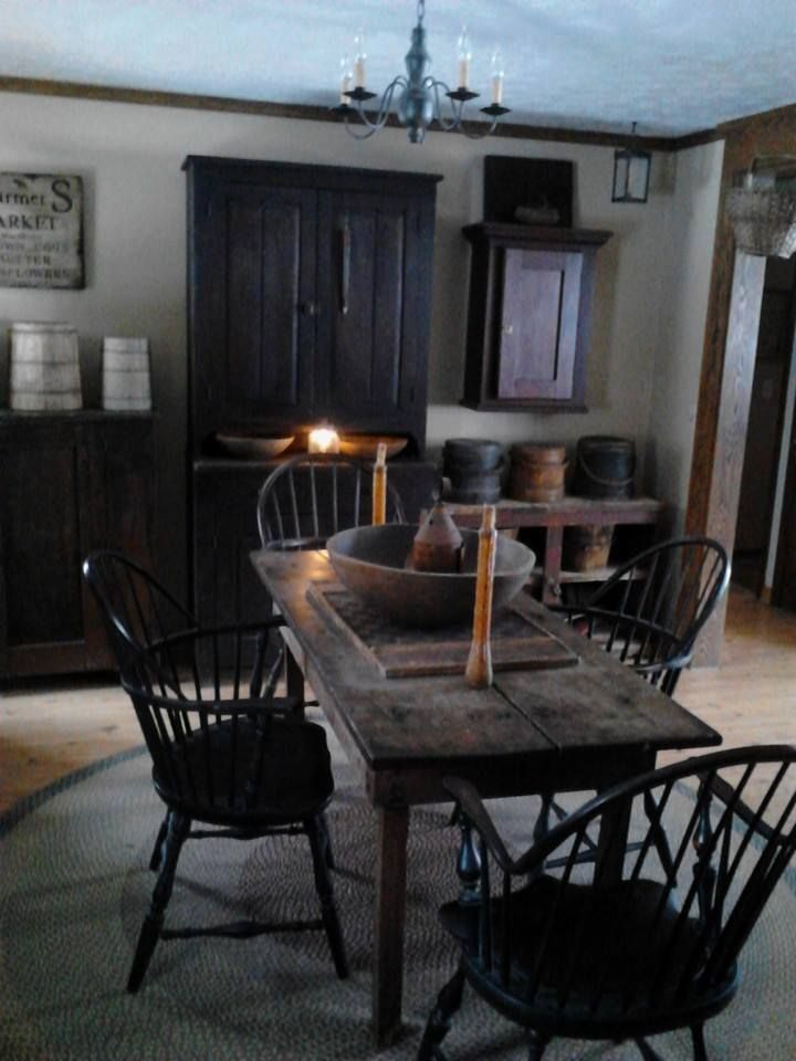 115 best images about primitive dining room on pinterest for Primitive dining room furniture