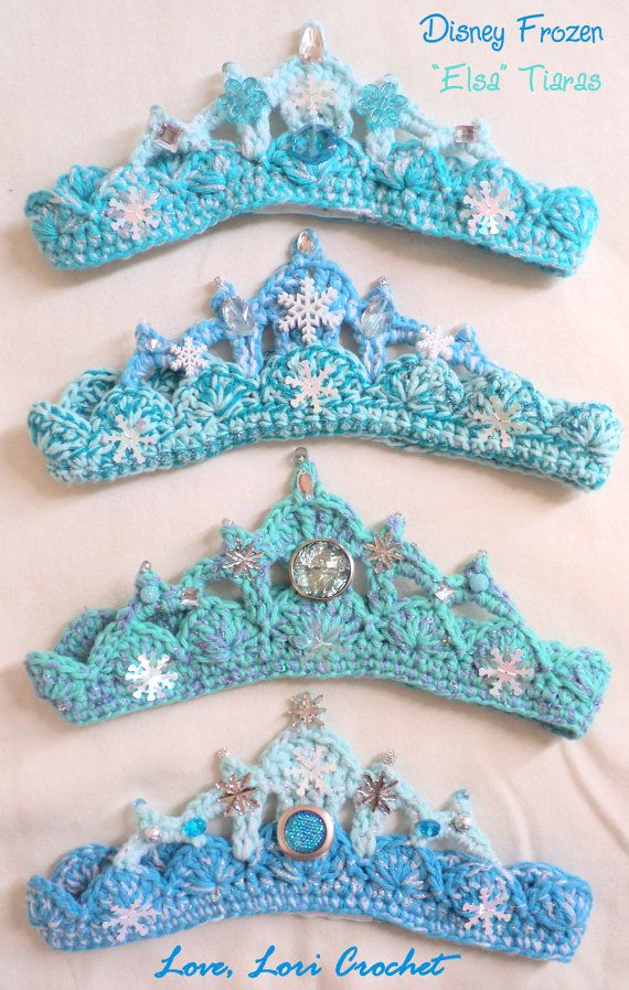 This listing is for one hand crocheted, Disney, Frozen, Elsa Tiara, hand beaded in sparkly accents. You choose the size. Every Tiara is