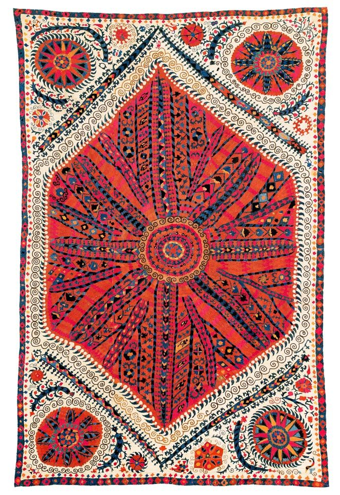 Large medallion suzani, Uzbekistan, Bokhara, 18th c.