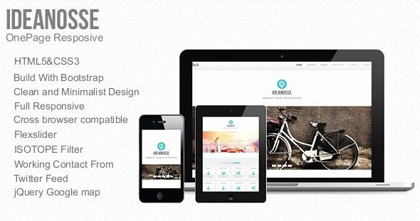Ideanosse - Responsive One Page Template   http://themeforest.net/item/ideanosse-responsive-one-page-template/3896065?ref=damiamio       Ideanosse Minimalist Responsive Single Page HTML5 Template is responsive one page template designed on Bootstrap Front End Framework. It is designed for specially small agencies to show their business online in more modern way with maximum coverage of clients. This theme can also be used for modern designers ,developers & freelancer to show their works…