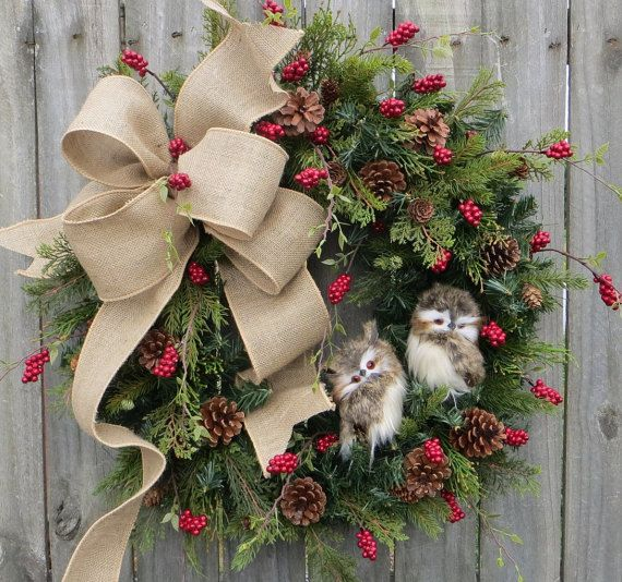 Christmas Wreath Owl Wreath Burlap Owl Wreath by HornsHandmade