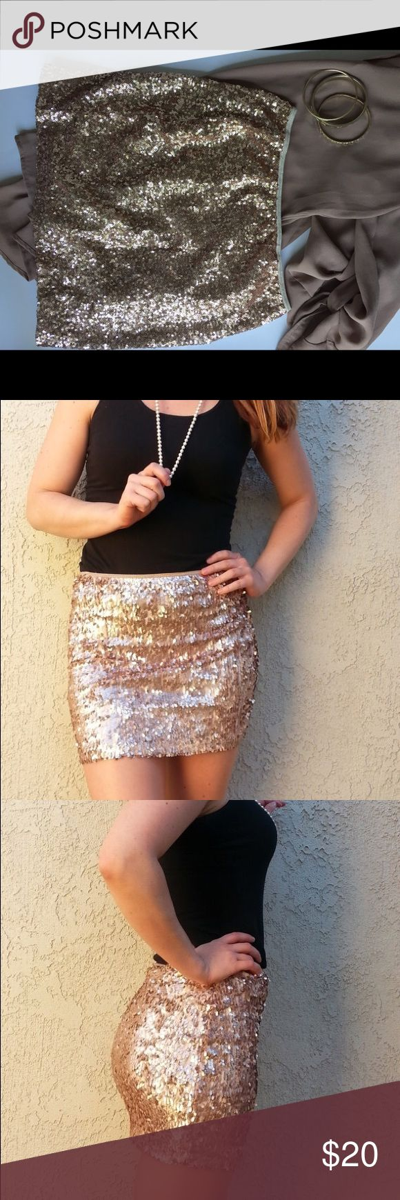 """Rose Gold sequin body con skirt Handmade item. Sequins on mesh with a lycra lining. Only worn one time. 14.5"""" long Skirts Mini"""