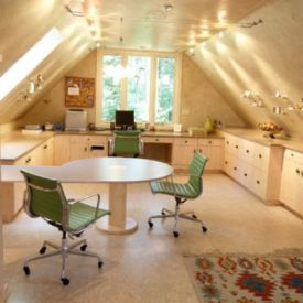 Attic Office Space Sloped Ceiling Decor