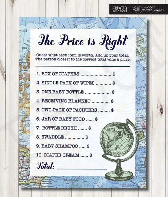 The Price is Right Baby Shower Game Baby by LittlePebblePaper
