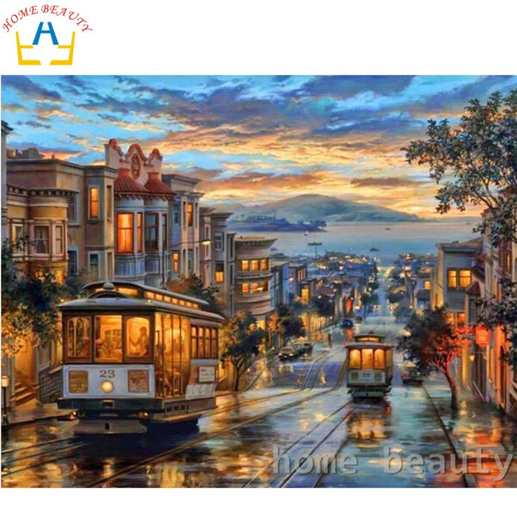HOME BEAUTY 40x50cm picture paint on canvas diy digital oil painting paint by numbers drawing coloring by number city night Y058
